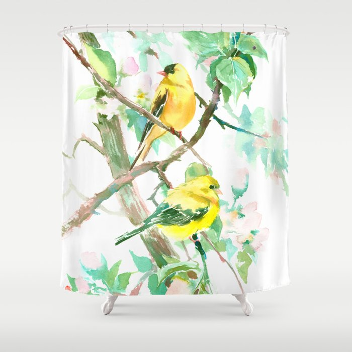 American Goldfinch and Apple Blossom Shower Curtain