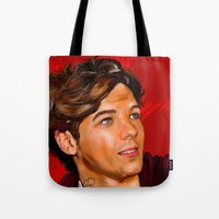 louis tomlinson Tote Bags featuring Louis Tomlinson  by Tune In Apparel