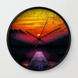 Wooden Bridge by the lake at Sunset painting eerie woods nature artistic photography breathtaking beautiful canoe kayak home decor interior design Wall Clock