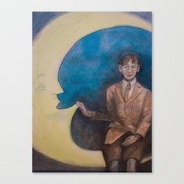 Watercolor Portrait of Boy on a Crescent Moon Canvas Print