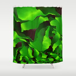 Green frayed abstraction Shower Curtain