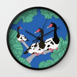 Magpie Geese for Lauren Wall Clock