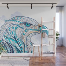 Blue Ethnic Eagle Wall Mural