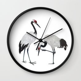 Red-crowned Cranes Wall Clock