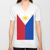 philippines V-neck T-shirts featuring Flag of the Philippines by Neville Hawkins