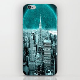 New New York Another World Aqua Teal iPhone Skin