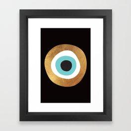Gold Evil Eye 70s Bohemian Lucky Charm Nazar  Framed Art Print