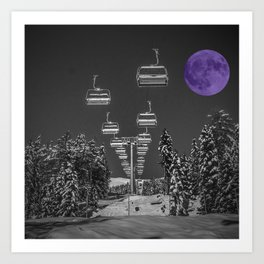 Chair Lift to the Purple Moon Art Print