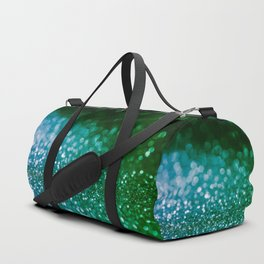 Aqua Glitter effect- Sparkling print in green and blue Duffle Bag
