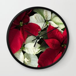 Red and White Christmas Poinsettias, Scanography Wall Clock