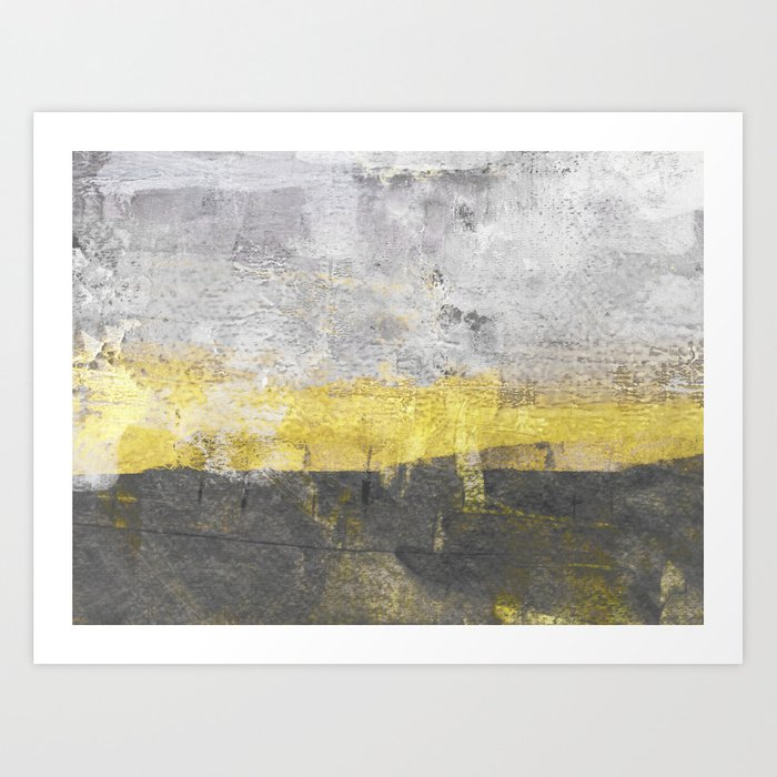 Yellow And Grey Abstract Painting Horizontal Art Print