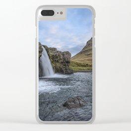 Waterfall Cascade Kirkjufell Mountain Iceland Clear iPhone Case