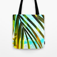 palm tree Tote Bags featuring Palm by Stephanie Stonato