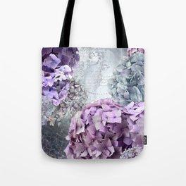 Purple Vintage Flower Hydrangea Hortensia Collage Tote Bag
