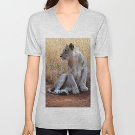 Pensive Lion in Color Unisex V-Neck