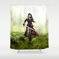 knight Shower Curtains featuring Lady knight by milyKnight