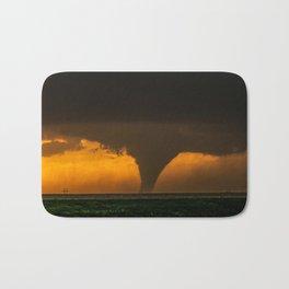 Silhouette - Large Tornado at Sunset in Kansas Bath Mat