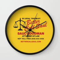 better call saul Wall Clocks featuring Better Call Saul  by Laundry Factory
