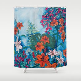 Blue Jungle of Orange Lily and Pink Trumpet Vine Floral Shower Curtain