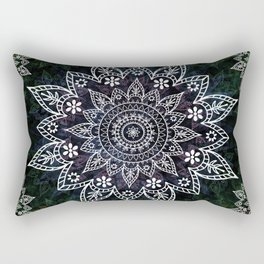 Rising Soul Mandala Design White Blue Green Rectangular Pillow