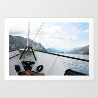 Boat on Lake Garda Art Print