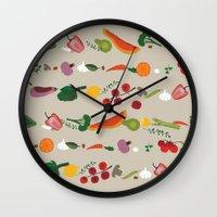 vegetarian Wall Clocks featuring Vegetarian pattern by Darish