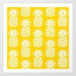 Retro Mid Century Modern Pineapple Pattern Yellow 2 Art Print