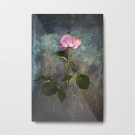 Single Wilted Rose Metal Print