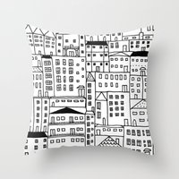 cityscape Throw Pillows featuring cityscape by Anna Grunduls