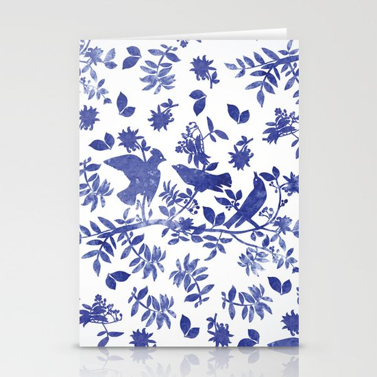 Pattern with blue watercolor birds Stationery Cards