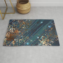 Blue background with bronze Rug