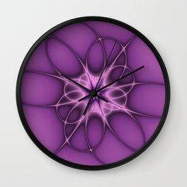 Lilac Ornament Fractal Art Wall Clock