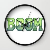 seahawks Wall Clocks featuring Legion of Boom Seattle 12th Man Art by Olechka
