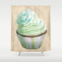 cupcake Shower Curtains featuring Cupcake by Naomi Shingler
