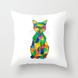 Rainbow Cat Throw Pillow