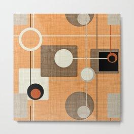 orbs and squares orange Metal Print