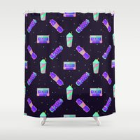 skateboard Shower Curtains featuring Sk80s by badOdds