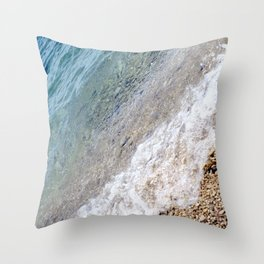 Diagonal Waves Rolling Pebbles on the Seacoast Throw Pillow