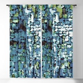 Blue Green Abstract Geometric Low Poly Modern Art Blackout Curtain