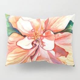 Double Peach Tropical Hibiscus Pillow Sham
