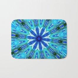 Teal Blue Floral Kaleidoscope Bath Mat