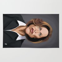 wes anderson Area & Throw Rugs featuring Celebrity Sunday ~ Gillian Anderson by rob art | illustration