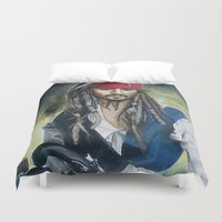 jack sparrow Duvet Covers featuring Captain Jack Sparrow by zlicka
