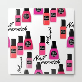 Nail Polish Seamless nail varnish polish pattern fashion background Metal Print
