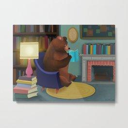 Mister Bear Loves His Books Metal Print