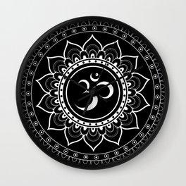 Om Mandala : Black & White Wall Clock