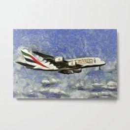 Emirates A380 Airbus Van Gogh Metal Print