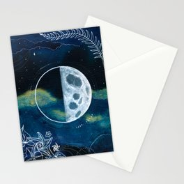 Quarter Moon Original Mixed Media Painting Stationery Cards