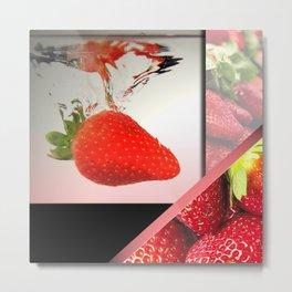 Strawberry Splash in Water Geometric Abstract Metal Print