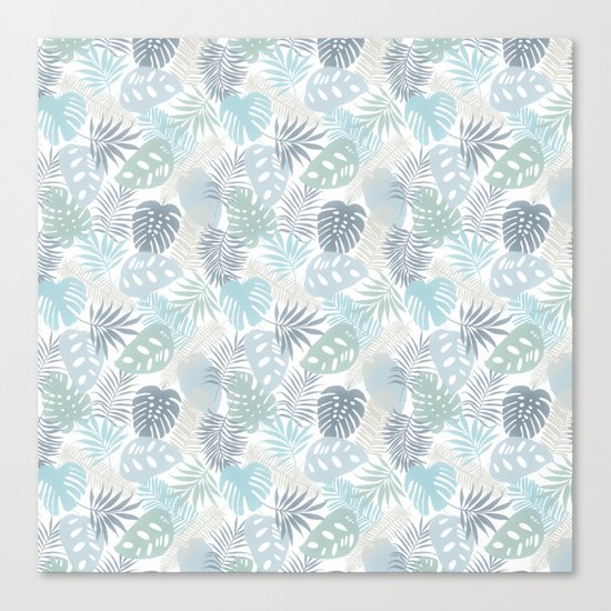 Tropical Leaves Pattern Blue Canvas Print